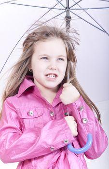 Girl Posing With Umbrella Stock Photo