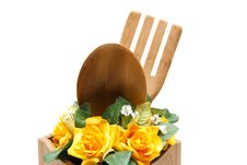 Free Cook Spoon With Flower Stock Photography - 18295082