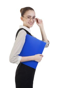 Free Business Woman With Folder Royalty Free Stock Images - 18295259