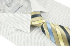 Free New Shirt With Striped Necktie Over White Stock Photos - 18295793