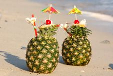 Free Tropical Pineapple Cocktail Royalty Free Stock Photography - 18295807