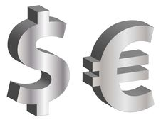 Free Dollar And Euro Symbols Stock Image - 18297791
