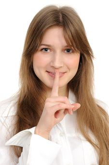 Free Woman Says Ssshhh To Maintain Silence Stock Images - 18298404