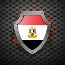 Free Shield With The Image Of A Flag Of Egypt. Royalty Free Stock Image - 18298656