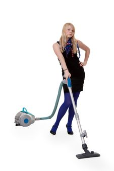 Free Girl With A Vacuum Cleaner Stock Photography - 18298732