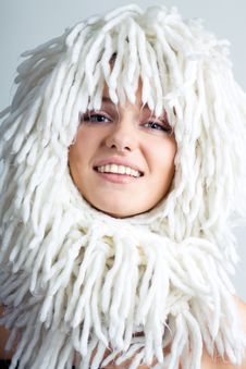 Free Smiling Woman With White Wig On The Head Royalty Free Stock Photography - 18298757