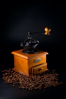 Coffebeans And Grinder Stock Photos