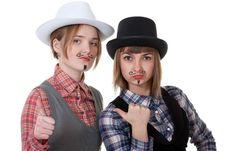 Free Two Girls With Painted Mustaches Royalty Free Stock Photography - 18299527
