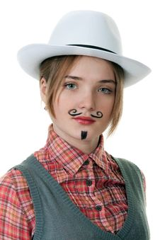 Free Girl With Painted Mustaches Stock Photography - 18299532