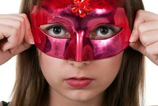 Free Girl In The Red Masquerade Mask Royalty Free Stock Photo - 18299875