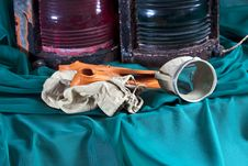 Old Objects,lanterns,flippers ,underwater Mask Stock Images