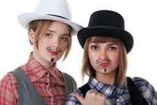 Free Two Girls With Painted Mustaches Royalty Free Stock Photo - 18299975