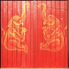 Golden Elephant Paint Wooden Door Stock Photo