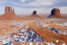 Free Monument Valley Buttes In Winter Royalty Free Stock Photo - 1831725