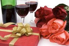 Free Roses With Present And Wine Royalty Free Stock Images - 1833759