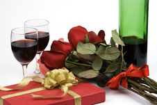 Free Roses With Present And Wine Royalty Free Stock Photos - 1833898