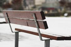 Free Alone Park Bench At Winter Royalty Free Stock Image - 1834016