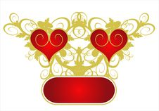 Free Red Hearts On A Flower Ornament Royalty Free Stock Images - 1836869