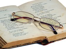 Free Glasses For Reading Lie On The Exposed Old Book Royalty Free Stock Photo - 1837155