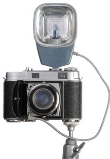 Old Camera With A Flash Royalty Free Stock Photography