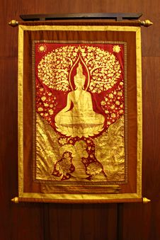 Free Golden Buddha Paint On Cloth Royalty Free Stock Image - 18300036
