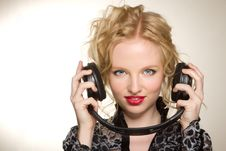 Woman With Headphones Listening To Music Royalty Free Stock Image