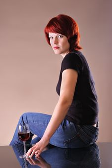 Free Girl C A Red Wine Glass Royalty Free Stock Image - 18300236