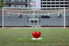 Free Penalty Spot Of Soccer Field With Heart Royalty Free Stock Photo - 18300305