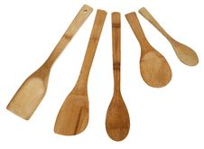 Free Assortment Of Five Bamboo Spoons Stock Photo - 18300350