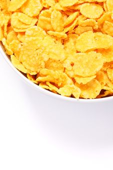 Free Bowl Of Cornflakes Over White. Top View Royalty Free Stock Image - 18300566