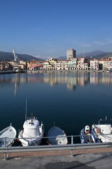The Port Of Imperia,sea ,houses,boats ,Italy Stock Photography
