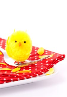 Free Easter Place Setting With Biddy Royalty Free Stock Photo - 18302085