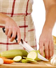 Free Girl Cutting Gourd Stock Photography - 18304152