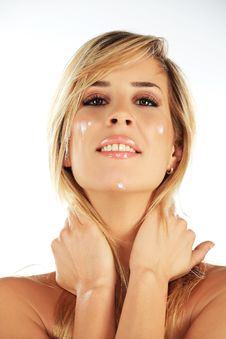 Free Girl With Moisturising Creme On Her Face Royalty Free Stock Photo - 18304365