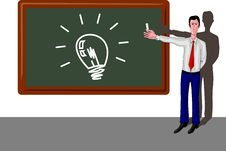 Man With Light Bulb On Blackboard Royalty Free Stock Photography