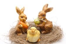Free Easter Bunnies With Chickens Stock Images - 18308434