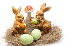 Free Easter Bunnies With Mushroom Stock Image - 18308461