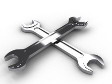 Free Two Iron Wrenches Lying On A Cross №2 Stock Photos - 18309603