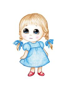 Free Cute Little Girl In Blue Dress Royalty Free Stock Photography - 18309667