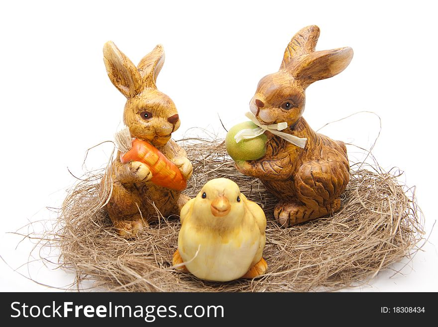 Easter bunnies with chickens