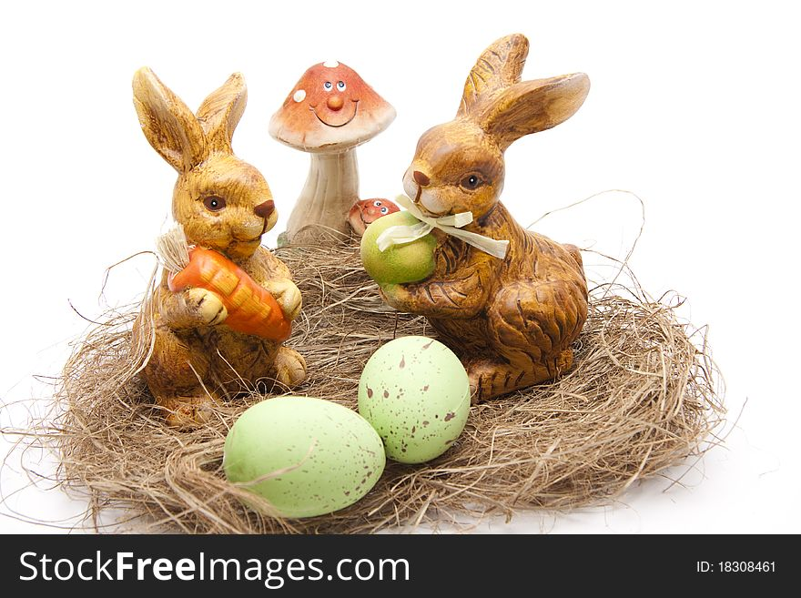 Easter bunnies with mushroom