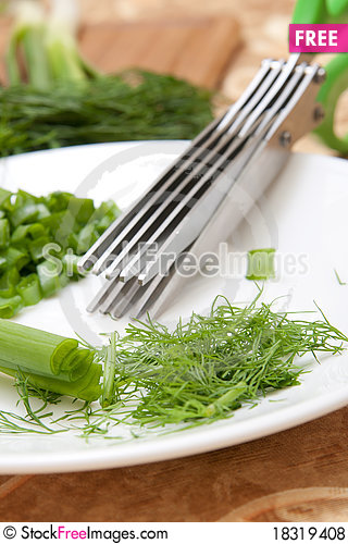Free Culinary Scissors For Chopping Greens Royalty Free Stock Photos - 18319408