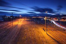 Free Railway Lines At Night. Stock Photo - 18310820