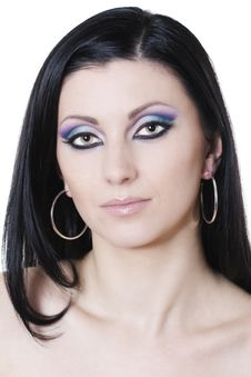Free Brunette Woman With Blue And Purple Makeup Royalty Free Stock Image - 18313096