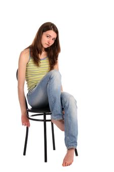 Free Girl In Green Stripy Top Sit On Stool. Royalty Free Stock Photo - 18313195