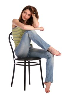 Free Girl In Green Stripy Top Sit On Stool Touchs Hair. Stock Image - 18313231