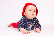 Free Little Child Baby In A Red Hat Stock Images - 18313604