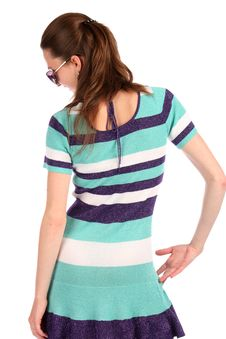 Free Girl In Stripy Blue Dress Posing. Stock Photography - 18313682