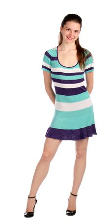 Free Girl In Stripy Blue Dress Posing. Stock Photos - 18313713