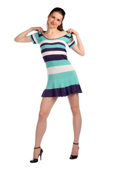 Free Girl In Stripy Blue Dress Move Dress On Shoulders. Stock Image - 18313751